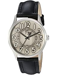 Bulova Mens Quartz Brass and Leather Dress Watch, Color:Black (Model: 96A147)