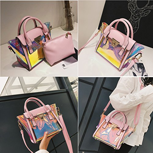 Shoulder Laser Top Bag Bag Women Bag Green Fashionable Handle Transparent Crossbody Crossbody Purse Messenger vwxq5TF1q
