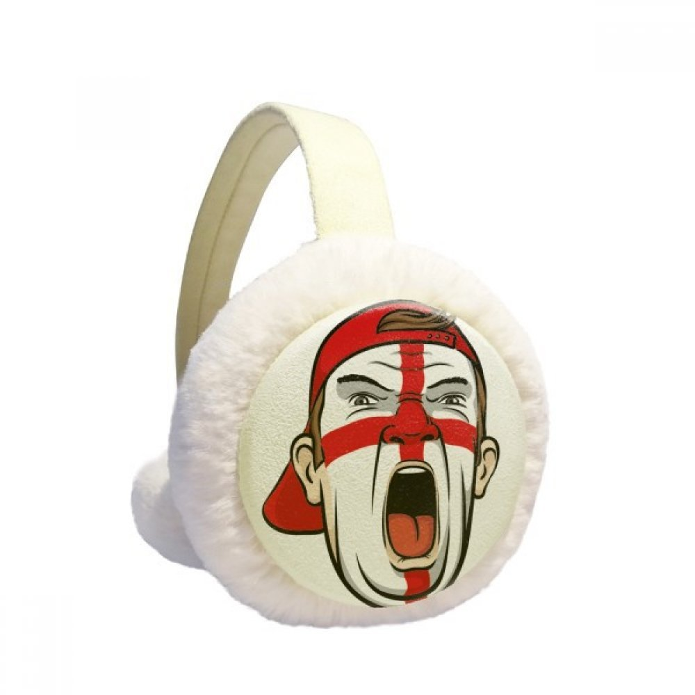 England Flag Facial Makeup Mask Screaming Cap Winter Earmuffs Ear Warmers Faux Fur Foldable Plush Outdoor Gift