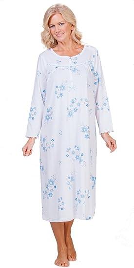 32a7bbf2dd La Cera Plus Women s Long Sleeve Cotton-Rich Long Nightgown - Lyrical Blue  (3X