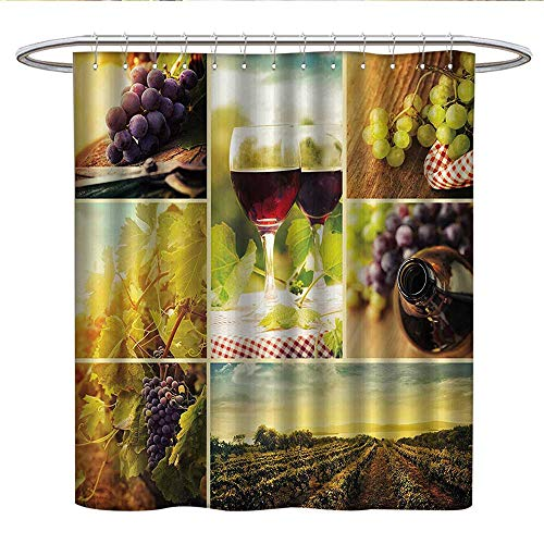 Anshesix Home Decor Collectioncloth Shower curtainRustic Style Collage of Wine Glass Grapes and Vineyard Qualified Harvest Village Picture ArtCurved Shower Curtain rodGreen Red
