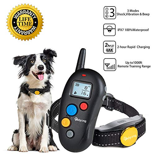 Felyong Dog Training Collar Shock Collar for Dogs with Rechargeable & 100% Waterproof, Beep Vibration Shock 3 Modes Harmless Safe Dog Shock Collar with 1000ft Remote for Small Medium Large Dogs