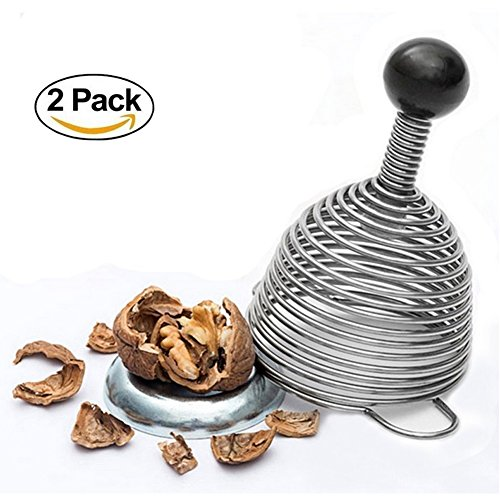 Heavy Duty Stainless Steel Silicone Spiral Spring Nut Cracker Works in Seconds,2-Pack (Lapel Pin Globe)