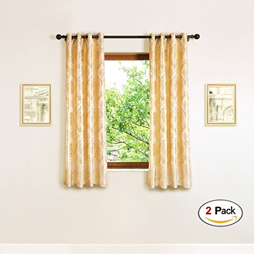 Jacquard Window - elkca Jacquard Luxury Curtains Panels Window Curtains for Living Room,Grommet Top, Pack of 2 (Damask-Golden, 52
