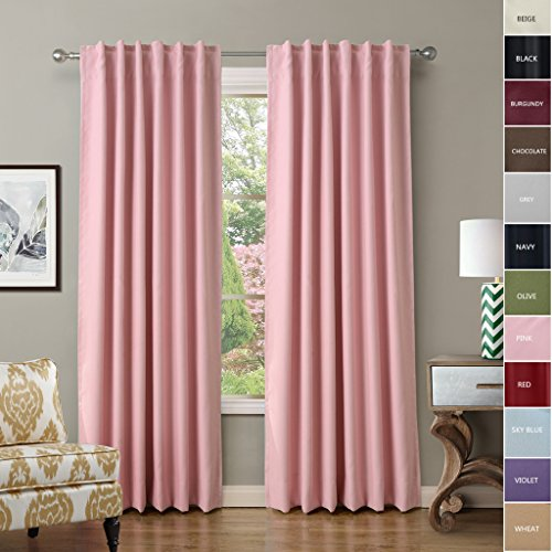 ChadMade Back Tab / Rod Pocket Pink 52Wx96L Inch (Set of 2 Panels) Solid Thermal Insulated Blackout Curtain Drape