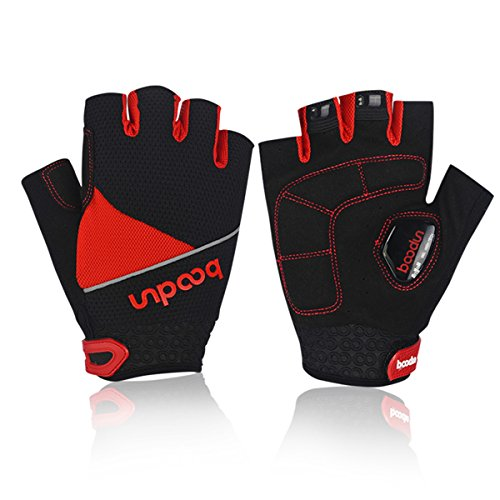 BOODUN Cycling Mountain MTB Road Bike Biking Racing Riding Bicycle Gloves Shock Absorbing Gel Pad Gloves Half Finger Red M