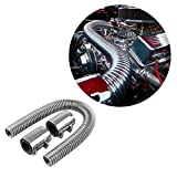 """Ruien 24"""" Flexible Stainless Steel Radiator Hose Kit With Chrome Caps"""