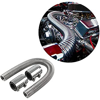 Ruien 24  Flexible Stainless Steel Radiator Hose Kit With Chrome Caps  sc 1 st  Amazon.com & Amazon.com: 48