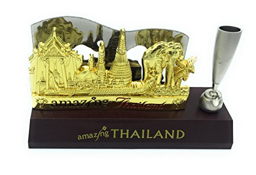 WD-FB-13 Thai Unique Souvine Desktop business card holder Disply stand with pen holder Display Office Accessories business card Display & Great any occasion Gift and decor by WD store