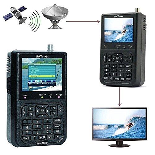 Satellite Finder Signal Meter, SATlink WS-6906 Satellite Signal Finder Detector Digital Satellite Finder Meter DVB-S FTA Data 3.5 Inch LCD