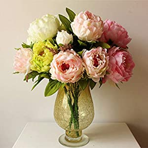 XGM GOU 1 PCS(7/5 Flower Heads) Beautiful Artificial Peony Bouquets Silk Rose Flowers DIY Home Decoration Accessories Wedding Decoration 1