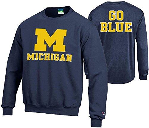 Elite Fan Shop Michigan Wolverines Crewneck Sweatshirt Back Navy - M