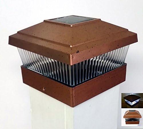 "Post Cap Mount Outdoor Light Solar Powered LED Light 5/""x 5/"" Copper Set of 2"