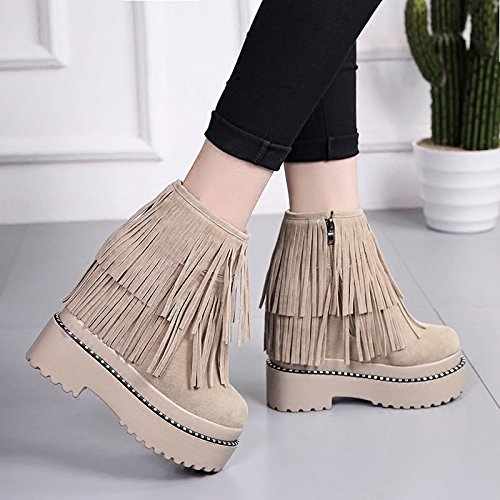 Winter Boots In Tassel Female Shoes New Thick Women'S Slope Increase Cashmere KPHY Muffin Beige The The Boots Shoes Winter Soles And Bottom With tqnExWxzA4