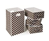 Badger Basket Folding Hamper and 3 Basket Set, Brown/White