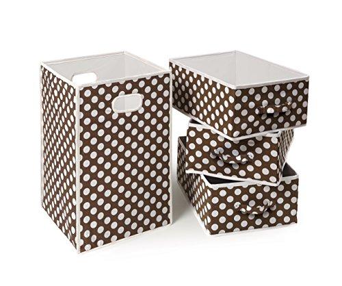 - Fabric Folding Square Hamper and 3 Storage Basket Set