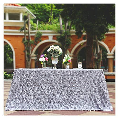 Fanqisi Silver Rosette Satin - Rectangular Tablecloth 90