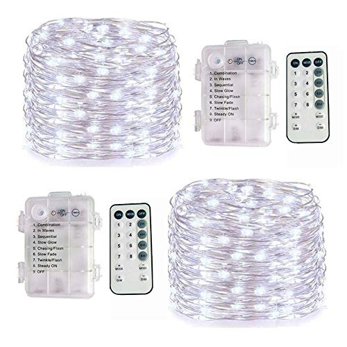 - 2 Pack 100 LED Fairy String Lights Battery Operated with Remote Control Timer Waterproof 8 Modes 33ft Copper Wire Twinkle String Lights for Bedroom Indoor Outdoor Wedding Party Decor (Cool White)