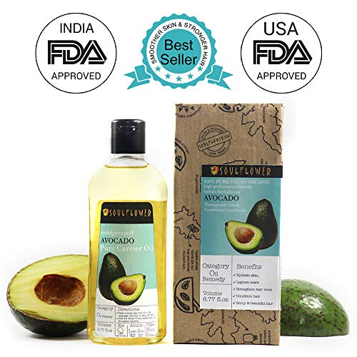Avocado Oil by Soulflower, Organic and Coldpressed, 100% Pure and Natural Undiluted, Vegan,USFDA approved, Smoother Skin & Stronger Hair, 6.77 Fl.Oz, BONUS Travel Mini Spray