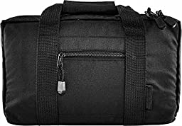 Ultimate Arms Gear Stealth Black Sig Sauer 9mm .22 .357 Sig 38 Special .40 S&W .45 ACP GAP Discreet Dual Tactical Hand Gun Handgun Revolver Case Bag Rag Holds 2 Pistols with 6 Interior Double Stack Single Mag Magazine Pockets and Carry Handle + Compact Po