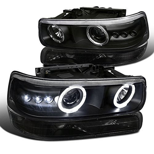 Chevy Silverado Tahoe Suburban LED Halo Projector Headlights+Bumper Lamps Black