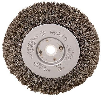 Weiler Trulock Narrow Face Wire Wheel Brush, Round Hole, Steel, Crimped Wire, 4 Diameter, 0.0118 Wire Diameter, 1/2-3/8 Arbor, 7/8 Bristle Length, 1/2 Brush Face Width, 12500 rpm by Weiler Weiler Corporation