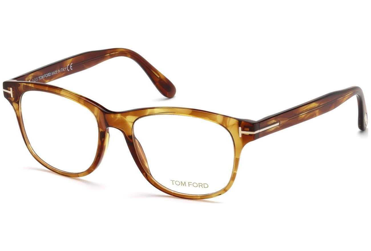 cc1fe5f843 Tom Ford FT 5399 050 Brown Havana Plastic Square Eyeglasses 50mm
