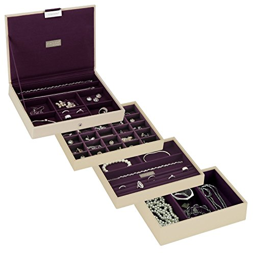 Stackers Cream & Purple Classic Jewelry Box - Set of 4