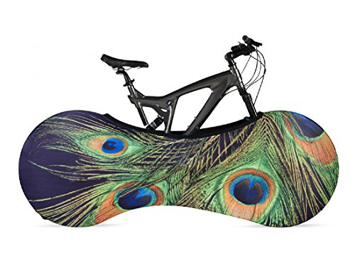 VELOSOCK Bicycle Bike Cover Peacock for Indoor Storage - Keeps Floors and Walls Dirt-Free - Fits 99% of All Adult Bicycles
