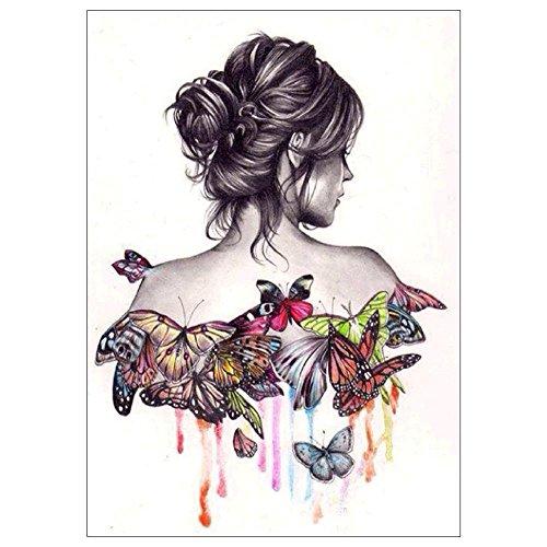 Awakingdemi 5D Full Diamond Painting DIY Craft Cross Stitch for Adults Butterfly Beauty Girl Decoration 40x50CM