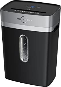 BONSEN Paper Shredder, 12-Sheets Cross Cut Credit Card Shredders for Home Office with 6 Gallons Wastebasket, High Security Level P-4, Black (S3103)