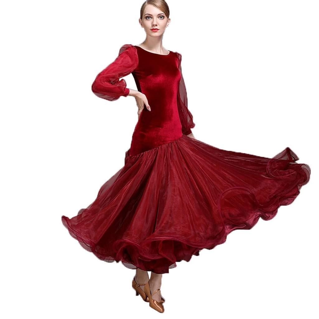 数量は多い  女性用ランタンスリーブモダンダンススカートビッグスウィングドレス全国標準舞踊社交ダンス競技衣装 B07QB7LTP7 B07QB7LTP7 XL|ワインレッド XL ワインレッド ワインレッド XL, CHARMING(チャーミング):769e20f8 --- a0267596.xsph.ru