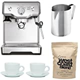 Breville BES810BSS The Duo-Temp Pro Espresso Machine + Frothing Pitcher, Tiara Cups and Capresso West Coast Blend Whole Bean Coffee (1-Pound)