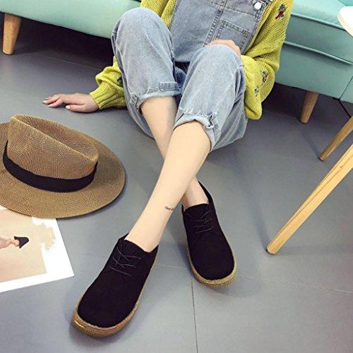 Martin Femme Femmes Plates Cheville Automne Luckybb Lacets Chaussures Les Doux Noir Daim Printemps Troupeau Bottes fapq1gnw8