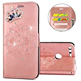 IKASEFU Gooogle Pixel Case,Clear Crown Rhinestone Diamond Bling Glitter Wallet with Card Holder Emboss Mandala Floral Pu Leather Magnetic Flip Case Protective Cover for Gooogle Pixel,Rosa Gold