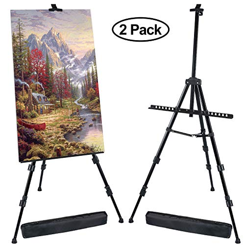 T-SIGN 72 Inches Tall Display Easel Stand, Aluminum Metal Tripod Art Easel Adjustable Height from 22-72 Inches, Extra Sturdy for Table-Top/Floor Painting, Drawing and Display with Bag, 2-Pack Black from T-SIGN