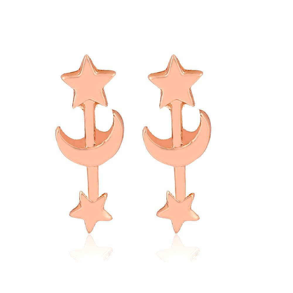 Frodete Moon Star Ear Climber Tiny Star Moon Stud Earrings Everyday Teen Mothersday Celestial Birthday Gift Jewelry