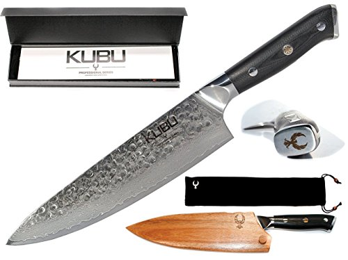 Best Professional 8' Hammered Chef Knife With Acacia Wood Case / Sheath / Guard. Made of Japanese VG10 64 Layer Damascus Super Steel. Great Gift For Your Chef's Knives Set. Hand Forged by Kubu Kitchen