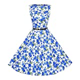 Women Dress Daoroka Women's Sexy Vintage Printed Sleeveless Casual Cocktail Prom A Line Swing Pleated Party Mini Dress with Belt New Fashion Casual O-Neck Classy Floral Picnic Skirt (S - Blue)