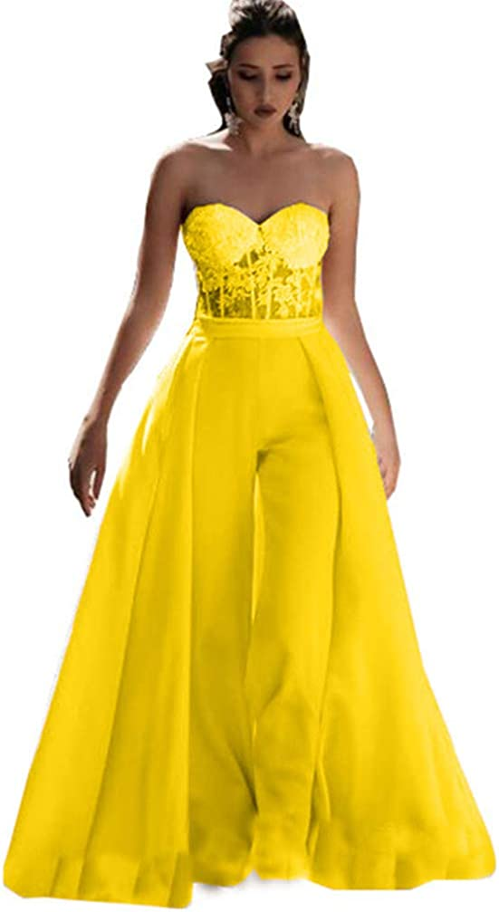 Snow Lotus Women's Strapless Sweetheart Dres Jumpsuit Max 58% OFF Satin Prom excellence