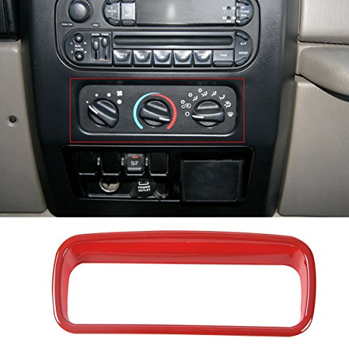 RT-TCZ Red ABS Air conditioning Button Trim for 1997-2006 Jeep Wrangler TJ & Unlimited ()