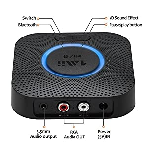 Bluetooth Receiver, Hi-Fi Wireless Audio Adapter, 1Mii Bluetooth 4.2 Adapter with 3D Surround aptX Low Latency for Home Music Streaming Stereo System (Upgraded Version with Power Adapter) by 1mii