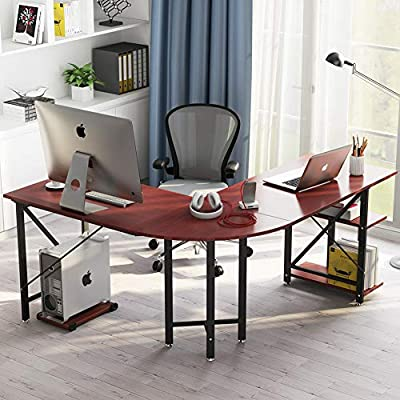 """LITTLE TREE L-Shaped Computer Desk, 67 inch Modern Corner Computer Desk Study Workstation Gaming Table with Shelves Storage for Home Office - [Large Desktop Size] : 67""""(Long Side) x 59""""(short Side)"""" x 24""""D , offers a surprisingly large space for multiple monitor or other essential home office supplies. L shape desk Fits snugly in a corner to maximize and creat ideal workspace. [Extra Storage Space] : Convenient 2-tier open shelves storage on the right side of the corner desk. Adjust height or remove the upper shelf according to your requirements. And a free CPU holder is also included. Making everything you need accessible. [Spacious Leg Room ]: 30"""" height computer desk provide large room underneath without any legs obstructing. The large space under the corner table allows you to stretch freely and to switch between the left and right part of the desk. - writing-desks, living-room-furniture, living-room - 518C8xwDCxL. SS400  -"""