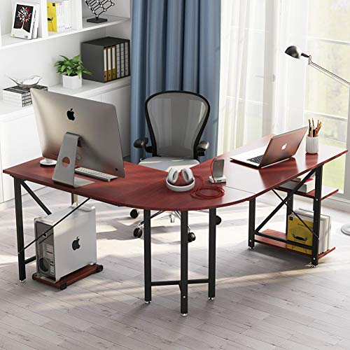 Large L-Shaped Desk, LITTLE TREE 67″ Modern Corner Computer Desk Study Workstation Gaming Table with Shelves for Home Office (Cherry)