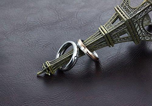 HOUSWEETY Bague Anneau Fiancailles Alliance en Acier Inoxydable Incruste Zircon Simple pour Couple