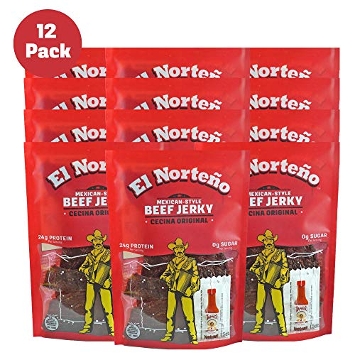 Original Beef Jerky - Low Sugar, Low Carb Protein Snacks by El Norteño - Thin Cut Cecina Jerky Proudly Made in the USA (12 - 1.5oz Snack Packs)