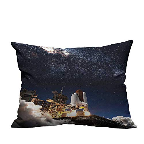 YouXianHome Decorative Couch Pillow Cases Space Shuttle Take Off Discovery Missi to Explore Galaxy Spaceship Solar Adventure Easy to Wash(Double-Sided Printing) 19.5x60 inch