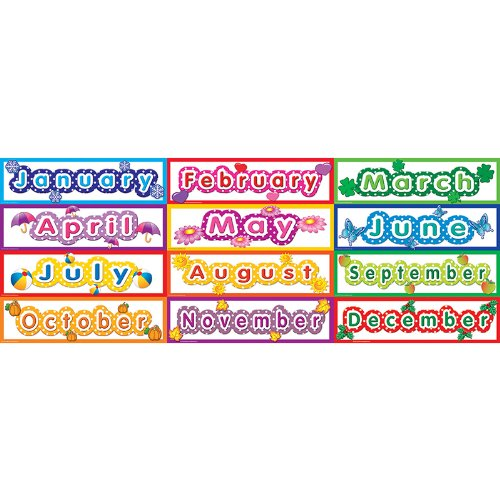 Teacher Created Resources Polka Dot Months Headliners, Multi Color (4481)