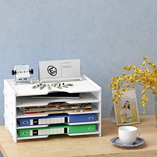 WJYLM Holz Schreibtischorganizer, große Kapazität Stehsammler DIN A4 Weiß Dokumentenablage Schule Büro Ablagefächer Funktional Aufbewahrungsbox,für Bücher Zeitschrift Schreibwaren,4layers