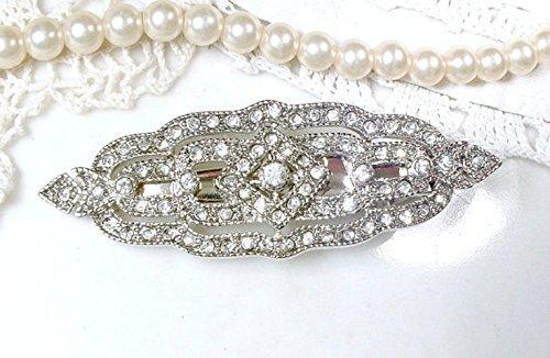 Great Gatsby Bridal Hair Barrette Clip, Art Deco 1920s Vintage Wedding Silver Rhinestone Geometric